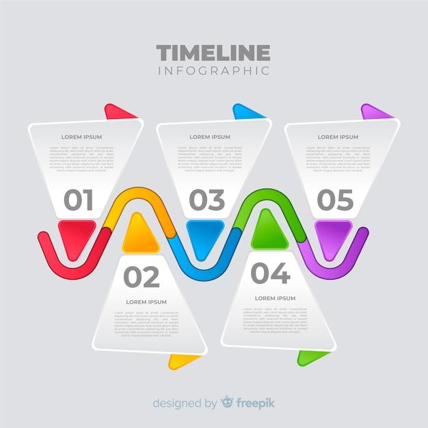 カラフルなタイムラインインフォグラフィックテンプレートデザイン 無料ベクター