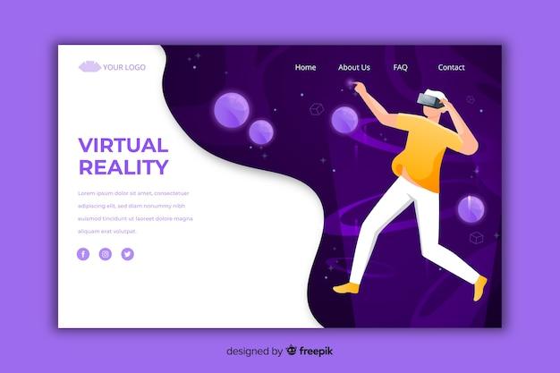 Шаблон целевой страницы виртуальной реальности Бесплатные векторы