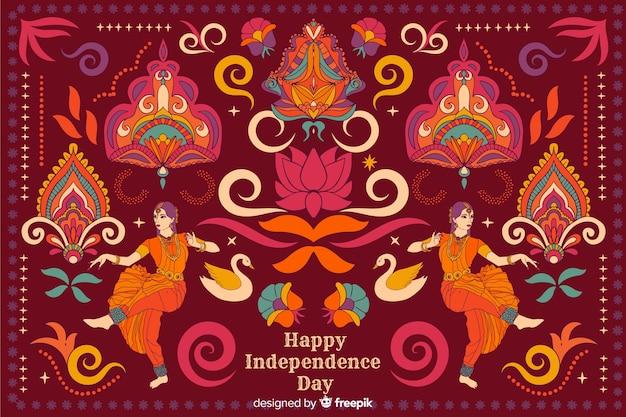 День независимости фон в стиле индийского искусства Бесплатные векторы
