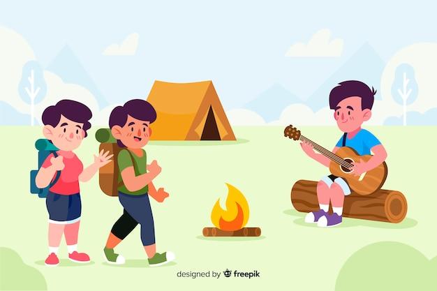 キャンプに行く人々の背景 無料ベクター
