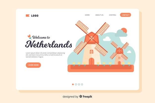 Добро пожаловать на целевую страницу нидерландов Бесплатные векторы