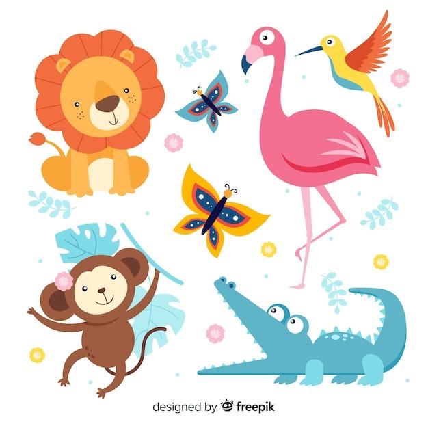 Стая экзотических милых животных Бесплатные векторы