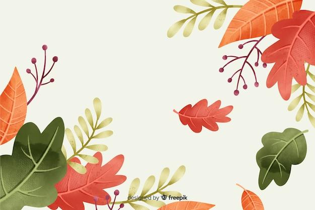秋の葉の水彩画の背景 無料ベクター