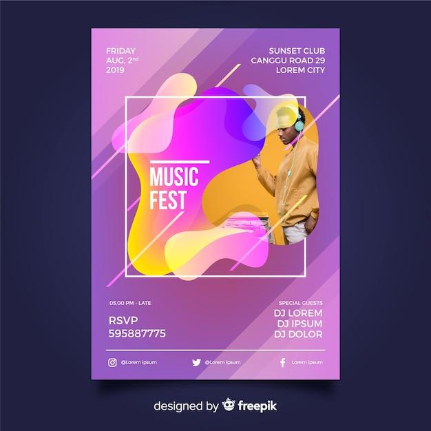 写真と抽象的な音楽祭のテンプレート 無料ベクター