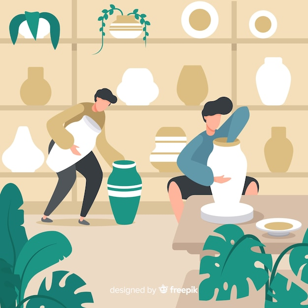 陶器のフラットデザインを作る人々 無料ベクター