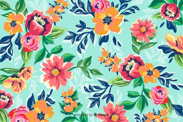 カラフルな塗られた花と自然の背景 無料ベクター