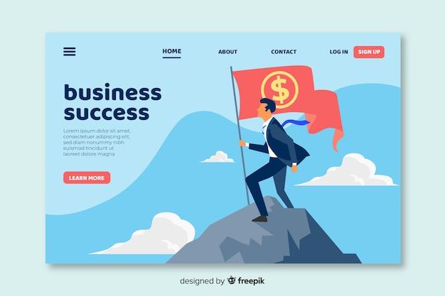 ビジネスランディングページフラットデザイン 無料ベクター