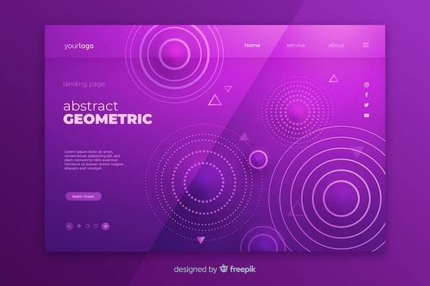 抽象的な幾何学的図形ランディングページテンプレート 無料ベクター