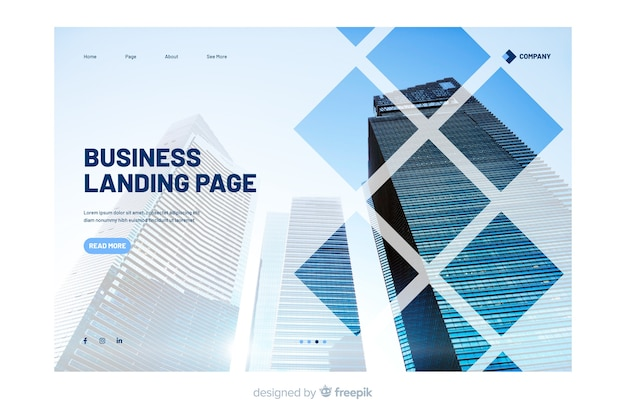 写真付きビジネスランディングページ 無料ベクター