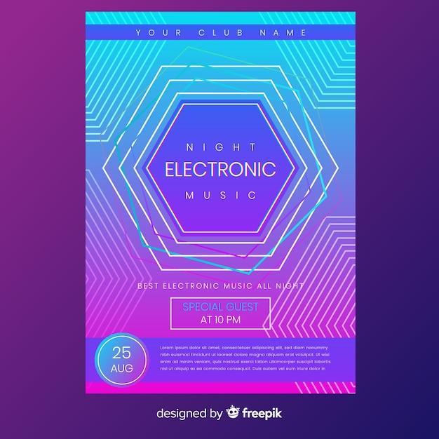 抽象的な電子音楽ポスターテンプレート 無料ベクター