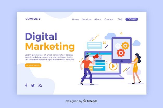 デジタルマーケティングのランディングページテンプレート 無料ベクター