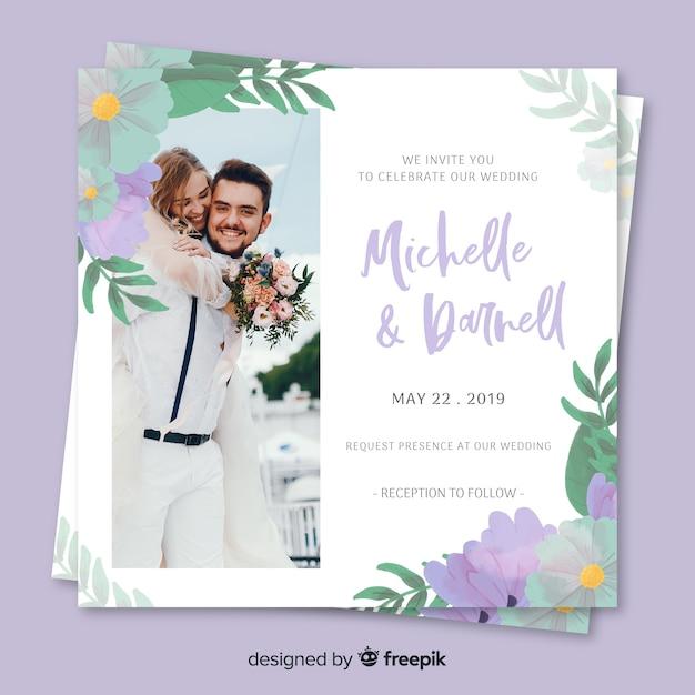 写真と花の結婚式の招待状 無料ベクター