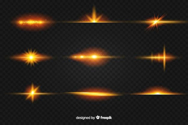 光のリアルなバーストコレクション 無料ベクター