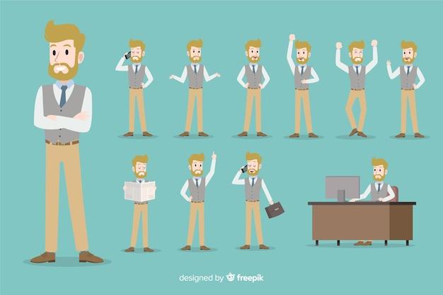 異なる姿勢で設定されたビジネスマン 無料ベクター