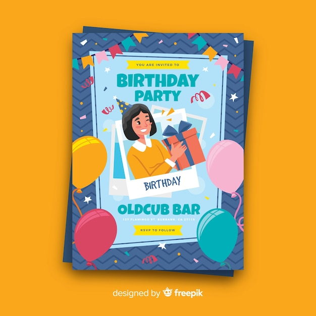 平らな誕生日パーティーカードテンプレート 無料ベクター