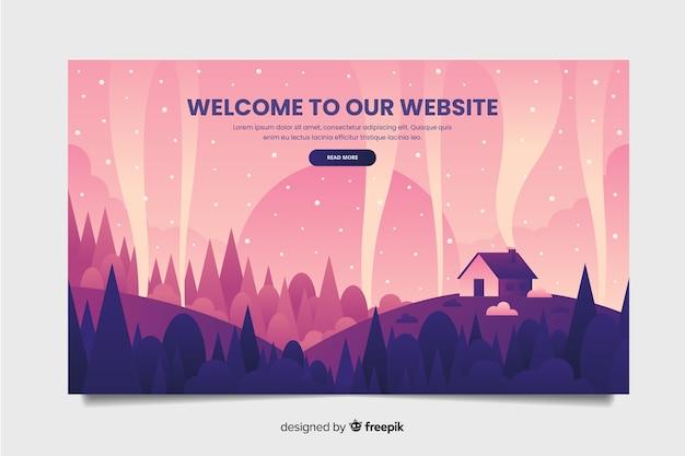 Приветственный шаблон целевой страницы с пейзажем Бесплатные векторы
