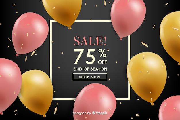 Реалистичные воздушные шары плавающие продажи фон Бесплатные векторы