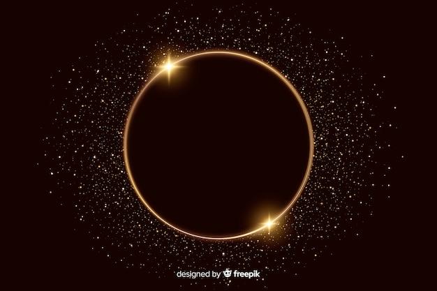 Золотая сверкающая рамка на темном фоне Бесплатные векторы