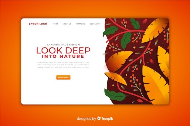 自然コンセプトランディングページテンプレート 無料ベクター