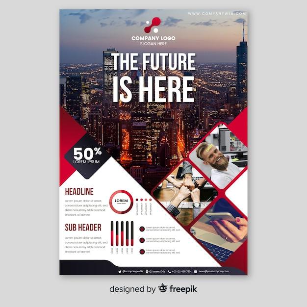 Бизнес шаблон брошюры с фотографией Бесплатные векторы