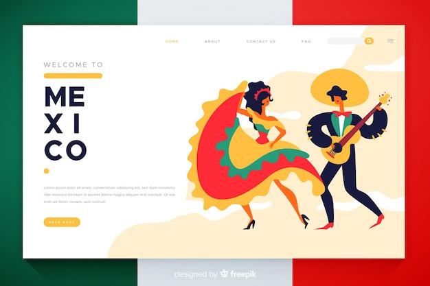 Добро пожаловать на целевую страницу мексики Бесплатные векторы