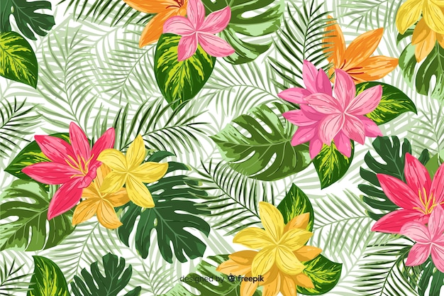カラフルな熱帯の花の装飾的な背景 無料ベクター