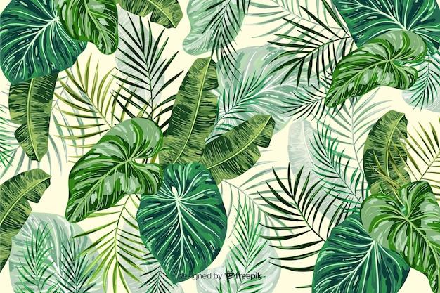 熱帯の緑の葉の装飾的な背景 無料ベクター