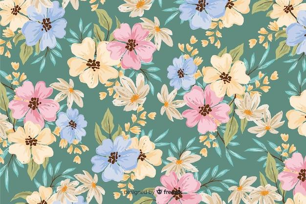 カラフルな塗られた花の装飾的な背景 無料ベクター