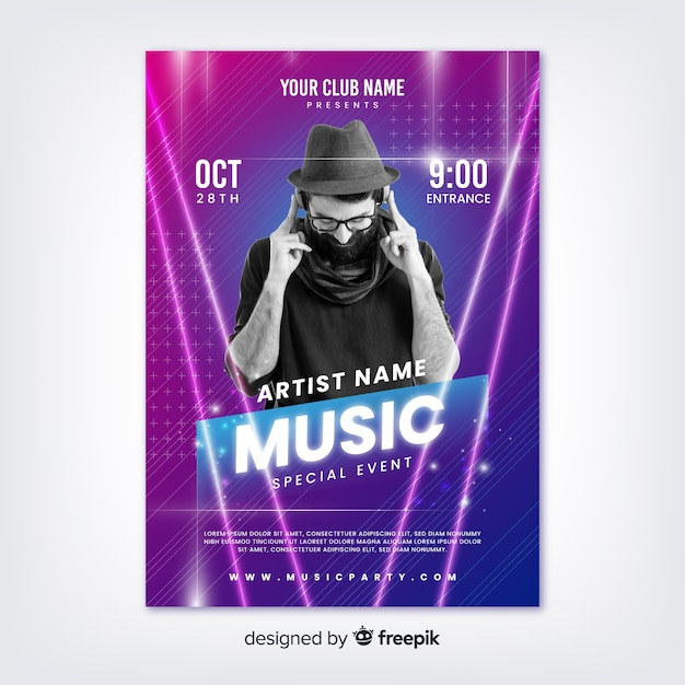Абстрактный музыкальный фестиваль шаблон с фото Бесплатные векторы