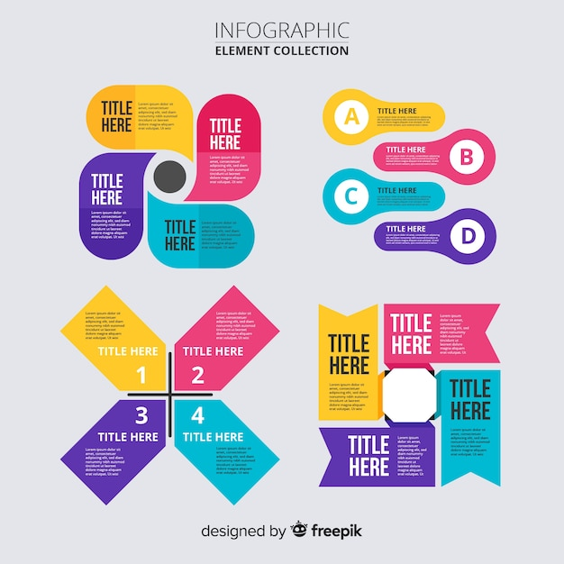 インフォグラフィック要素コレクションフラットデザイン 無料ベクター