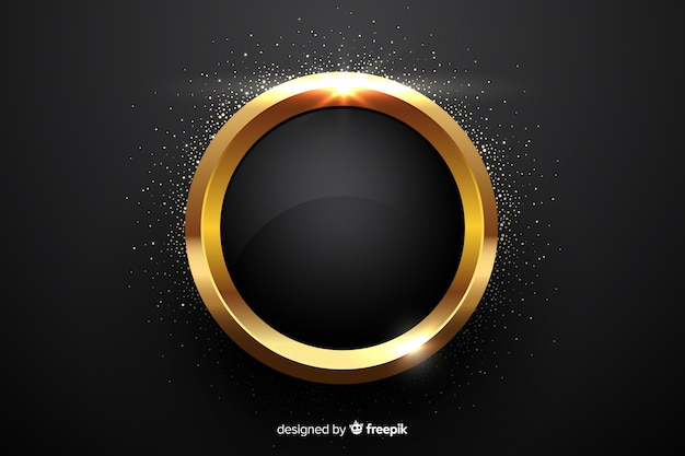 黄金の輝く円形フレームの背景 無料ベクター