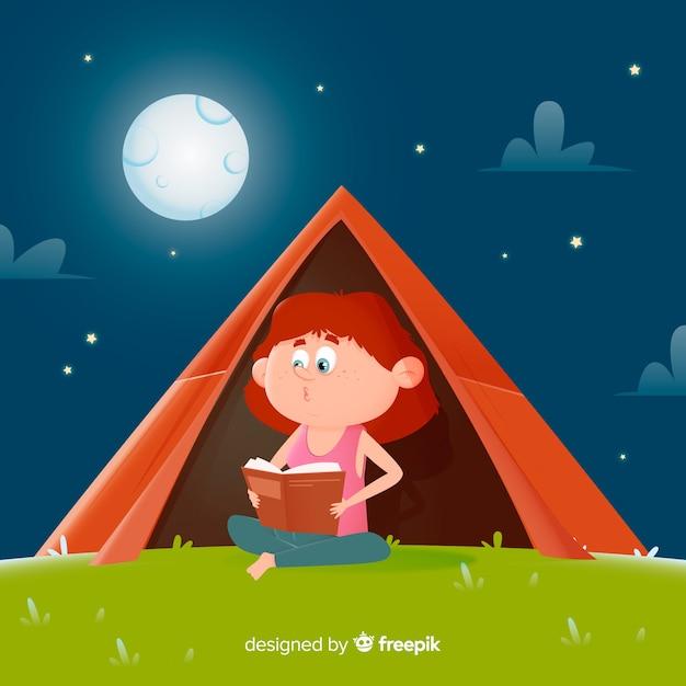 テントの中で本を読んでフラットなデザインの女の子 無料ベクター