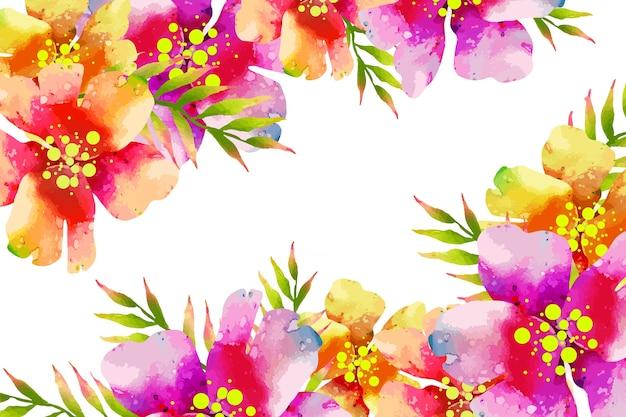水彩のエキゾチックなカラフルな花の背景 無料ベクター