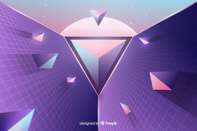三次元の幾何学的なレトロな未来的な背景 無料ベクター