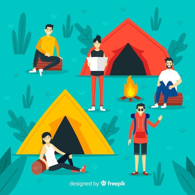 自然の中でキャンプする人々のイラスト 無料ベクター