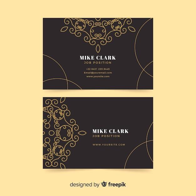 Элегантная визитка с золотым орнаментом Бесплатные векторы