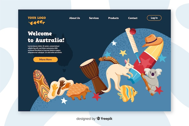 オーストラリアのカラフルなランディングページへようこそ 無料ベクター
