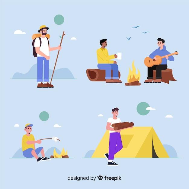 フラットなデザインのキャンプの人々のパック 無料ベクター