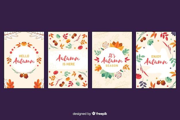 手描き秋のカードコレクション 無料ベクター