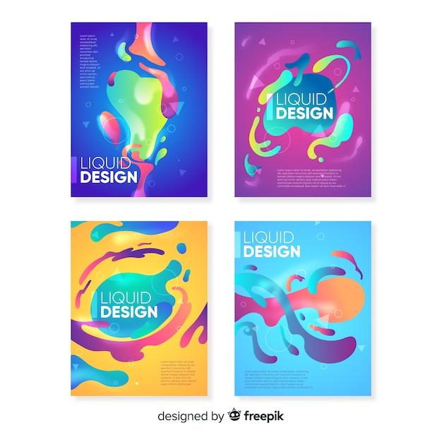 Дизайнерские обложки с красочным эффектом жидкости Бесплатные векторы