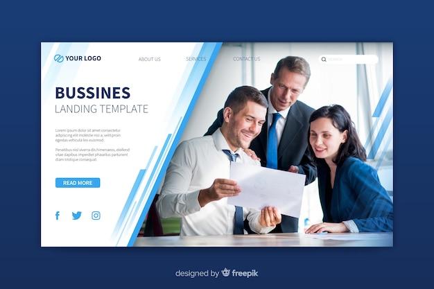 Шаблон бизнес-лендинга с фотографией Бесплатные векторы