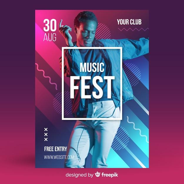 写真と抽象的な音楽祭ポスター 無料ベクター