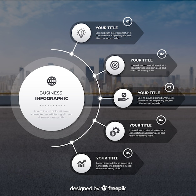 写真とビジネスインフォグラフィックフラットなデザイン 無料ベクター