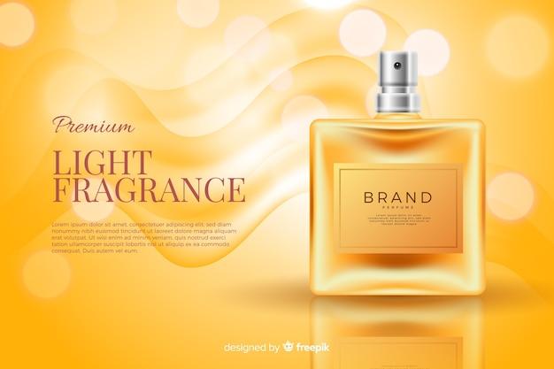 リアルな香水瓶の広告テンプレート 無料ベクター