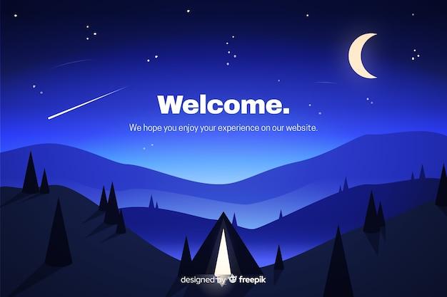 Синяя целевая страница с градиентным пейзажем Бесплатные векторы