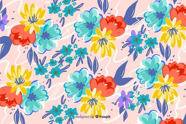 Естественный фон с красочными нарисованными цветами Бесплатные векторы