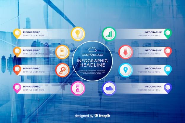 Бизнес инфографики плоский дизайн с фото Бесплатные векторы