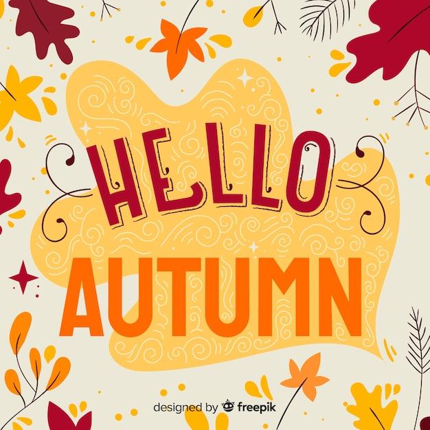 こんにちは秋のレタリングの背景の葉 無料ベクター