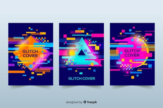 Дизайнерская обложка с красочным эффектом глюка Бесплатные векторы