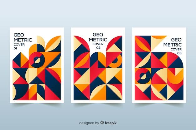 幾何学的なスタイルのデザインカバー 無料ベクター
